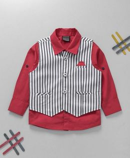 Rikidoos Full Sleeves Shirt With Striped Waist Coat - Red & Black