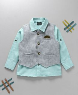 Rikidoos Solid Shirt With Waist Coat - Sea Green