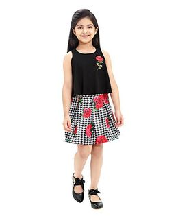 Tiny Baby Rose Design Top & Skirt Set - Black