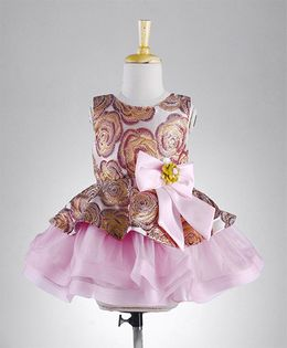 M'Princess Peplum Style Dress With Bow Applique - Pink