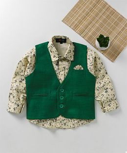 Robo Fry Full Sleeves Shirt And Jacket Floral Print - Green