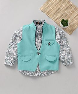 Robo Fry Full Sleeves Printed Shirt And Jacket - Sea Green