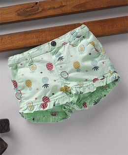 Fox Baby Shorts With Adjustable Elastic Waist - Mint Green