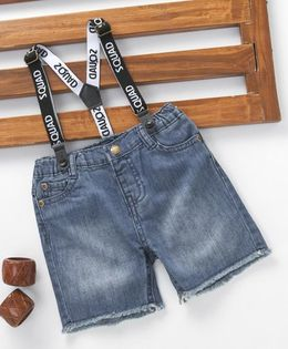 Fox Baby Denim Shorts With Suspenders - Blue