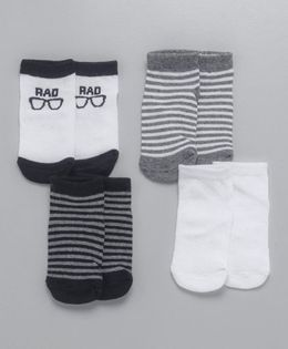 Fox Baby Ankle Length Design Socks Pack of 4 - Black White Grey