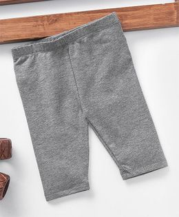 Fox Baby Solid Colour Three Fourth Leggings  - Grey
