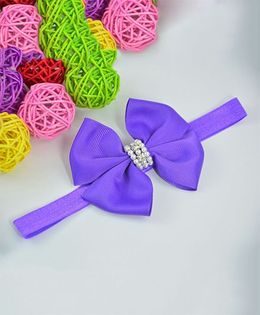 Little Miss Cuttie Bow Design Headband - Purple