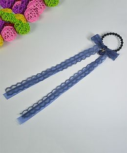 Little Miss Cuttie  Lace Hair Tie - Blue