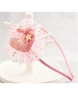 Little Miss Cuttie  Heart Design Hairband - Peach