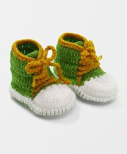 Mayra Knits Canvas Booties - White & Green