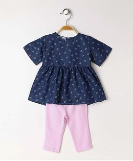Toffyhouse Denim Short Sleeves Frock With Leggings Floral Print - Navy Blue Pink