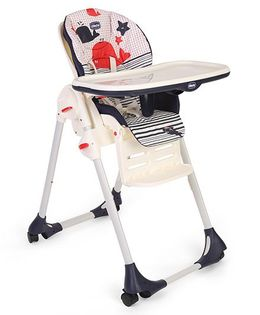 Chicco Polly Easy High Chair Marine Print - Blue & Red