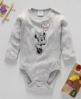 Fox Baby Full Sleeves Onesie Minnie Print - Grey