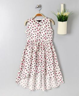 Pspeaches Lady Bug Printed Dress With Front Tie Up - White