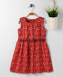 Pspeaches Crane Print Dress With Belt - Red