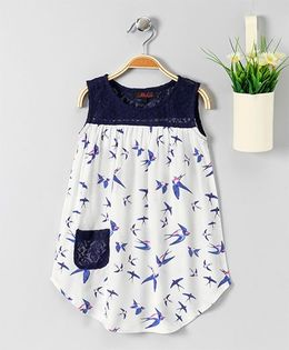 Pspeaches Bird Print Dress With Lace Pockets - White