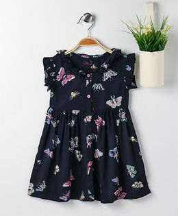 Pspeaches Butterfly Print Dress With Front Button Closure - Navy Blue