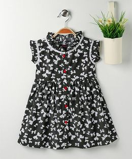 Pspeaches Bow Print Dress With Front Button Closure - Black