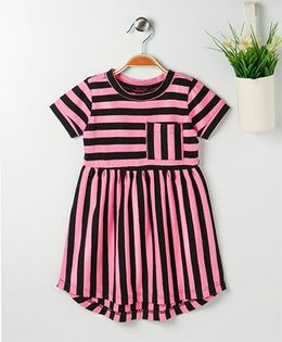 Pspeaches Striped Dress With Front Pocket - Pink