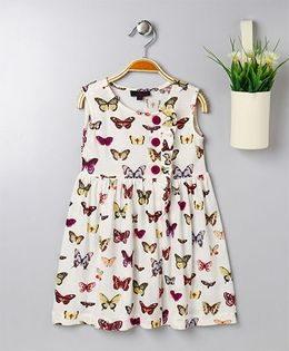 Pspeaches Butterfly Print Dress With Front Buttons - White