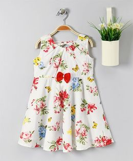 Pspeaches Floral Print Dress With Front Bow - White