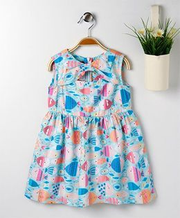 Pspeaches Fish Print Dress With Front Bow Design Neckline - Blue