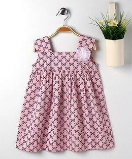 Pspeaches Bow Print Dress With Flower Applique - Pink