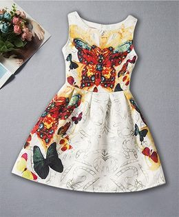 Pre Order - Awabox All Over Butterfly Printed Dress - White