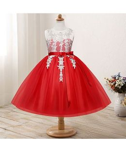 Pre Order - Awabox Netted Dress With Lace Applique - Red