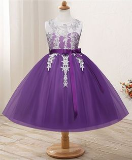 Pre Order - Awabox Netted Dress With Lace Applique - Purple