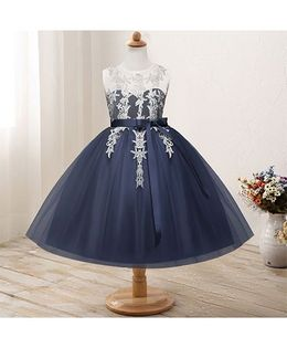 Pre Order - Awabox Netted Dress With Lace Applique - Navy