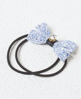 Kidcetra Shimmery Bow With A Stone Ponytail Band - Blue