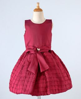 Bluebell Party Wear Sleeveless Pleated Frock Bow Applique - Maroon