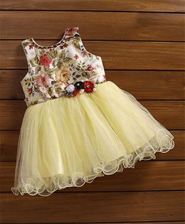 Bluebell Ruffled Hem Floral Applique Party Frock - Cream