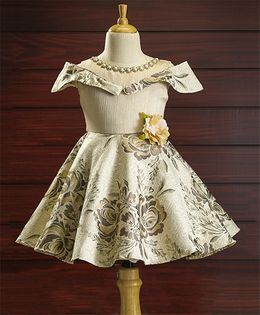 Bluebell Party Wear Short Sleeves Flared Frock Flower Applique - Fawn