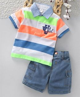 ToffyHouse Half Sleeves Striped Tee With Denim Shorts - Multi Color