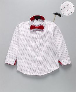 Robo Fry Full Sleeves Polka Dot Shirt With Bow - White