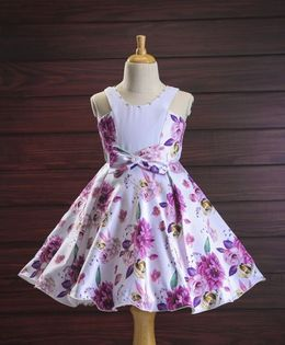 Bluebell Sleeveless Party Wear Dress Floral Print - White Purple