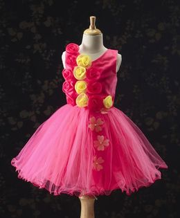 Bluebell Sleeveless Party Wear Dress Rosette Applique - Pink