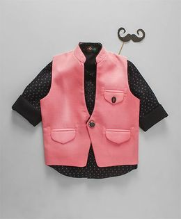 Robo Fry Full Sleeves Printed Shirt And Jacket - Pink