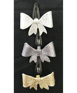 Kalacaree Glittery Bow Theme Hair Clips Set Of 3 - Grey Silver & Golden