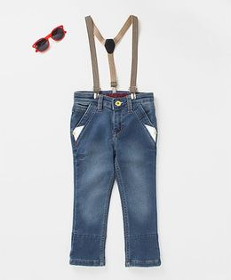 Tonyboy Upturned Ankle Denim With Suspenders - Blue