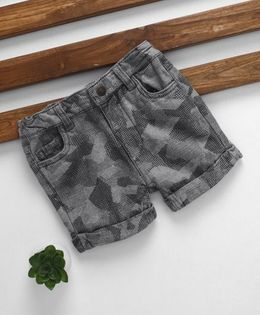Fox Baby Shorts With Turn Up Hem - Grey