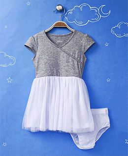 Fox Baby Cap Sleeves Frock With Bloomer - Grey & White