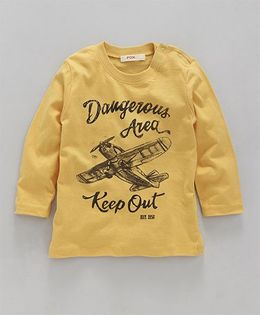 Fox Baby Full Sleeves T-Shirt Airplane Print - Yellow