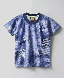 Little Kangaroos Half Sleeves Printed T-Shirt - Dark & Light  Blue