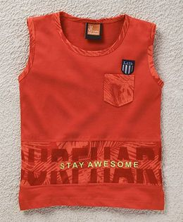Little Kangaroos Sleeveless T-Shirt Text Print - Orange