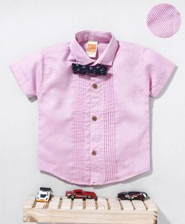 Little Kangaroos Half Sleeves Shirt With Bow - Light Pink