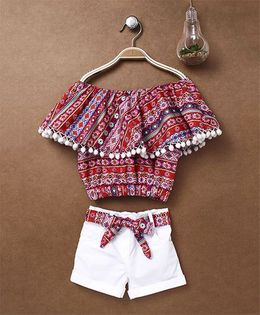 Little Kangaroos Off Shoulder Top With Shorts - Red White
