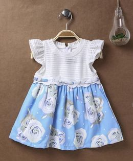 Little Kangaroos Flutter Cap Sleeves Dress Rose Print - Sky Blue